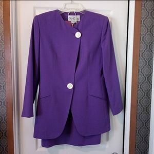 Vintage Oleg Cassini Purple Asymmetrical Suit
